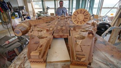 Photo of The Millennium Falcon Handcrafted Out of Wood (4 Photos)