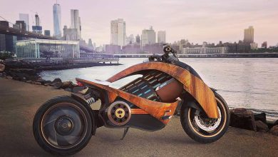 Newron Motors' Stunning Curved-Wood Electric Motorcycle (1)