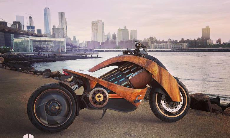Photo of Newron Motors' Stunning Curved-Wood Electric Motorcycle